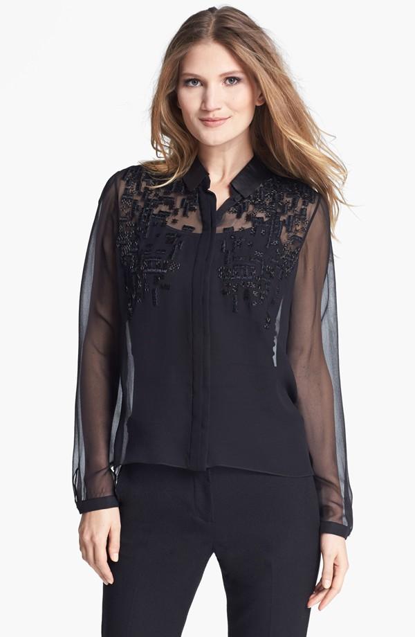 Ladies'fashion clothing manufacture black ladies bloues