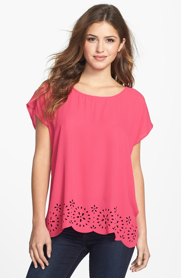 New arrival spring women pink short sleeve tops