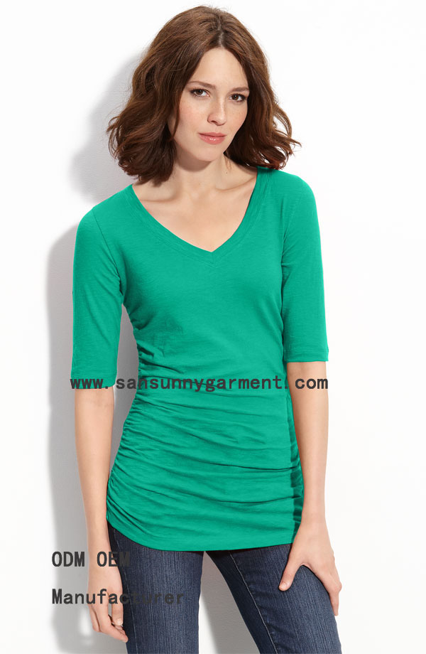 Daliy/casual hot sale laday t shirt with solid  color and  sleeve