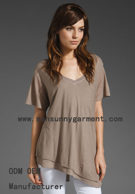 The latest trend off the hem casual t shirt for lady