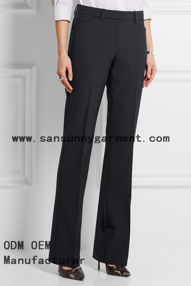 High fashion stretch wool flared pants
