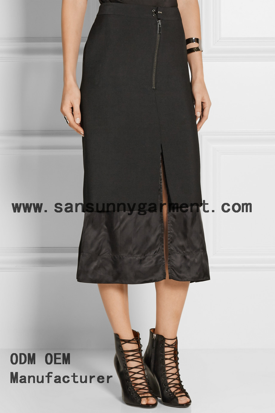 Top Quality Layered Wool blend and Satin Midi Skirt
