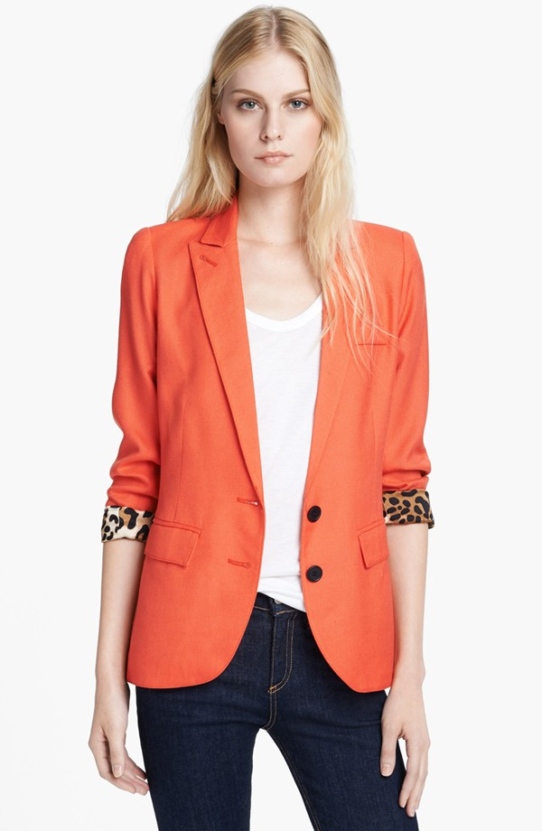 Bright color lady fashion long sleeve  pocket  jacket blazer
