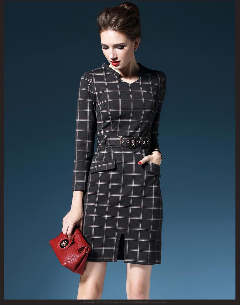 Ladies'fashion clothing manufacture grey plaid dress
