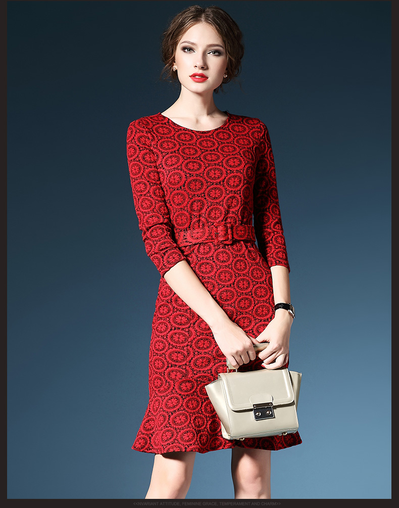 New arriveal tight fit dress formal mature women's wear slim fit red  work wear with long sleeve dress