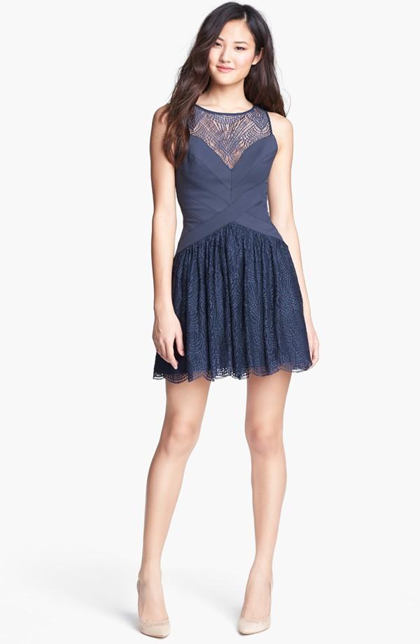 Ladies'fashion chiffon with lace blue party  dress