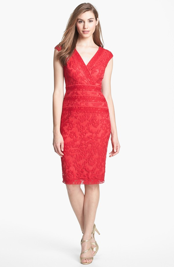 Ladies'fashion red lace party  dress